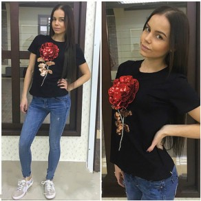 Black Flowers Sequin Round Neck Short Sleeve Casual T-Shirt