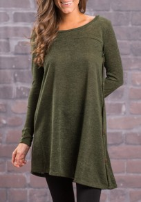 Army Green Buttons Draped Irregular Long Sleeve Casual T-Shirt