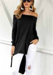 Black Plain Irregular Boat Neck Fashion T-Shirt