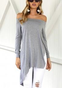 Grey Plain Irregular Boat Neck Fashion T-Shirt