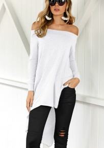 White Plain Irregular Boat Neck Fashion T-Shirt
