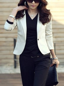 White Plain Buttons Turndown Collar Casual Blazer
