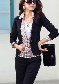 Black Plain Buttons Turndown Collar Casual Blazer