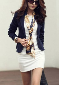 Blue Plain Buttons Turndown Collar Casual Blazer