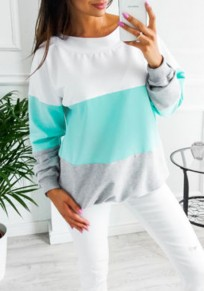 Blue Color Block Tie Back Round Neck Long Sleeve Casual T-Shirt
