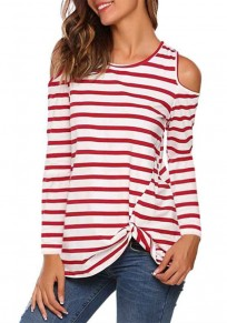 Red-White Striped Print Cut Out Round Neck Knot Long Sleeve Casual T-Shirt