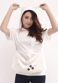 White Animal Zipper Pockets Hooded Short Sleeve T-Shirt