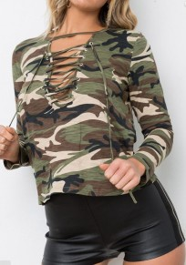 Camouflage Drawstring Round Neck Long Sleeve Casual Cotton T-Shirt