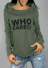 T-shirt à capuche letter imprimé poches manches longues lâche décontracté femme vert armée