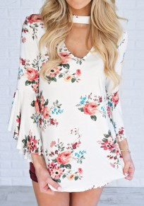 White Floral Cut Out V-neck Long Sleev Fashion T-Shirt