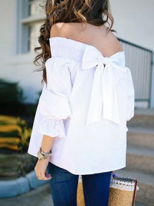 White Bow Boat Neck Off Shoulder Casual Cute T-Shirt