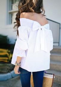 White Plain Bow Boat Neck Casual T-Shirt