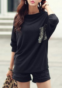 Black Patchwork Sequin Pocket Band Collar Long Sleeve Casual T-shirt