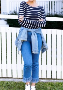 Blue-White Striped Backless Round Neck Long Sleeve Fashion T-Shirt