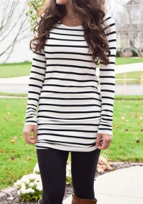 White Striped Round Neck Long Sleeve Casual T-Shirt