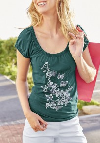 Green Floral Print Round Neck Short Sleeve T-Shirt