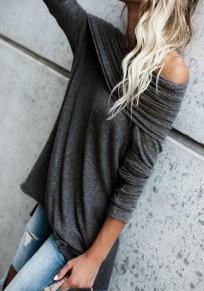 Black Cascading Ruffle Boat Neck Long Sleeve Fashion T-Shirt