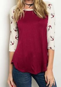 Burgundy Floral Irregular Round Neck Long Sleeve T-Shirt