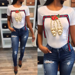 White Patchwork Print Beading Round Neck Short Sleeve Fashion T-Shirt