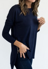 Dark Blue Irregular Zipper Round Neck Long Sleeve Fashion T-Shirt