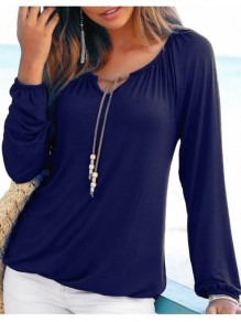 Blue Drawstring Round Neck Long Sleeve T-Shirt