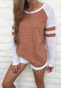 Brown Striped Print Round Neck Long Sleeve Casual T-Shirt