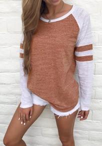Camiseta estampado de rayas cuello rojoondo manga larga casuales marrón