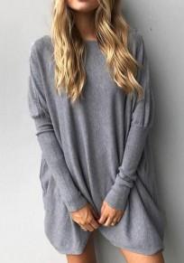 Grau Unregelmäßiger runder Ansatz Langes Hülsen-beiläufiges T-Shirt