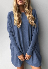 Blue Irregular Round Neck Long Sleeve Casual T-Shirt