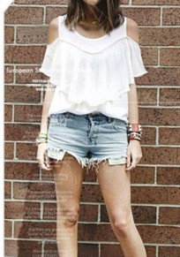 White Cut Out Ruffle Round Neck Short Sleeve T-Shirt