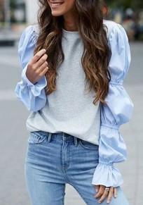 Camiseta irregular cuello rojoondo funda de linterna gris azul