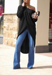 T-shirt machaon irrégulière une épaule haut-bas manches longues surdimensionné décontracté noir