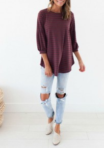 Red Striped Irregular Round Neck Casual T-Shirt