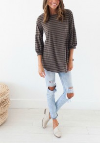 Khaki Striped Irregular Round Neck Casual T-Shirt