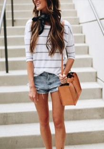 White Striped Round Neck Elbow Sleeve T-Shirt