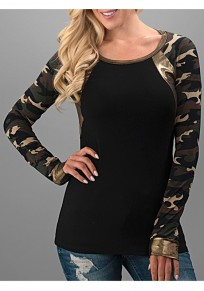 Black Camouflage Print Round Neck Long Sleeve T-Shirt
