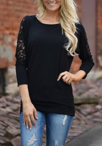 Camiseta encaje cuello redondo manga larga casuales negro