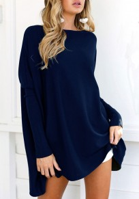 Blue Irregular Round Neck Long Sleeve Casual Dacron T-Shirt