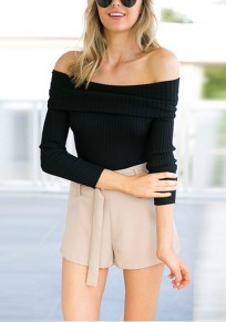 Black Bandeau Backless Off Shoulder Long Sleeve Club T-Shirt
