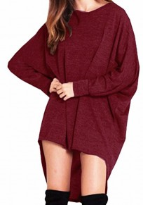 Wine Red Irregular High-low Round Neck Long Sleeve T-Shirt
