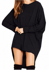 Black Irregular High-low Round Neck Long Sleeve T-Shirt