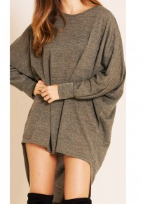 Camel Irregular High-low Round Neck Long Sleeve T-Shirt