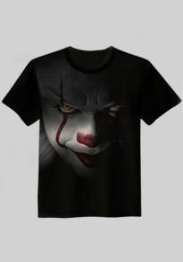Black Figure Print Stephen King's It Halloween Plus Size Party Fashion T-Shirt