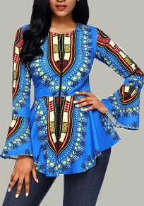 Light Blue Floral Round Neck Long Sleeve African Fashion T-Shirt