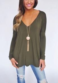 Grünes Ebene V-Ausschnitt Langarm Mode T-Hemd