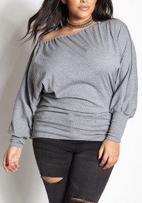 Grey Asymmetric Shoulder Plus Size Long Sleeve Casual Oversized T-Shirt