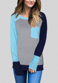 Light Blue Patchwork Pockets Casual Long Sleeve T-Shirt