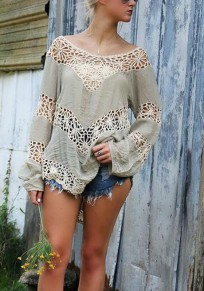 Grey Patchwork Cut Out Backless Irregular Round Neck Long Sleeve Fashion T-Shirt