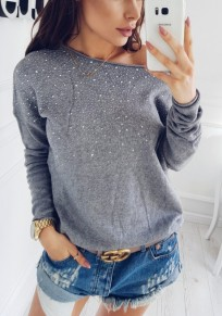 Grey Patchwork Rhinestone Asymmetric Shoulder Long Sleeve Fashion T-Shirt