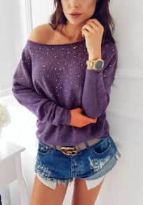 Purple Patchwork Rhinestone Asymmetric Shoulder Long Sleeve Fashion T-Shirt